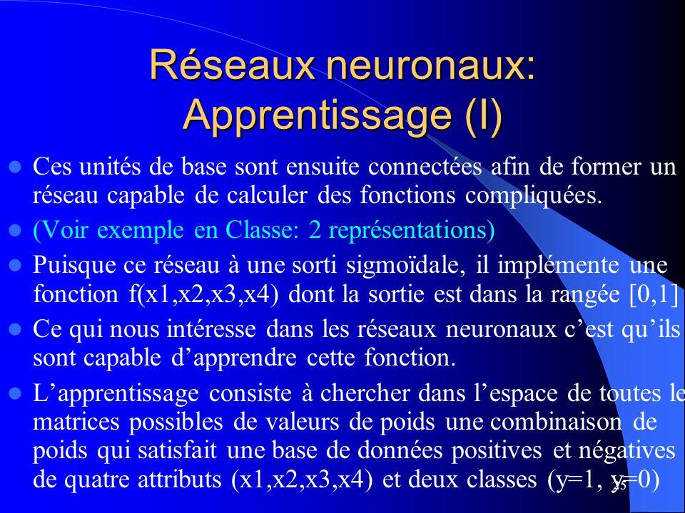 Réseaux neuronaux: Apprentissage (I)