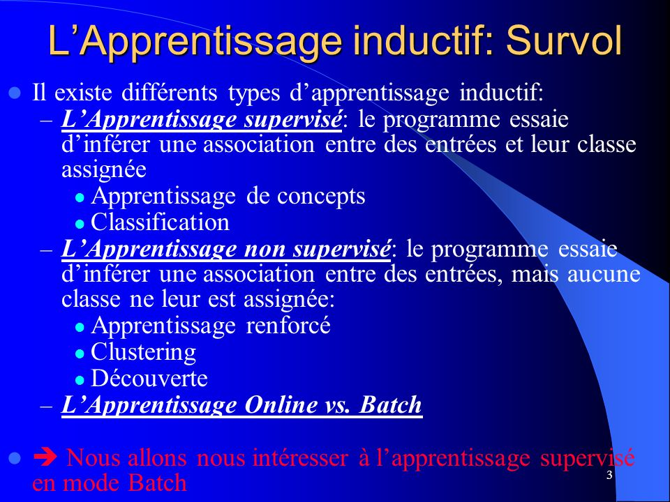 L'Apprentissage inductif: Survol