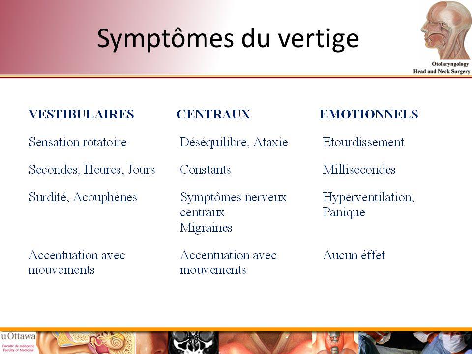 Symptômes du vertige