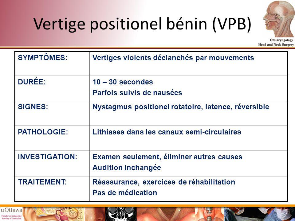 Vertige positionel bénin (VPB)