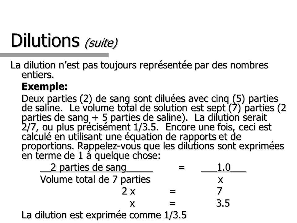Dilutions (suite) La dilution n'est pas toujours représentée par des nombres entiers. Exemple: