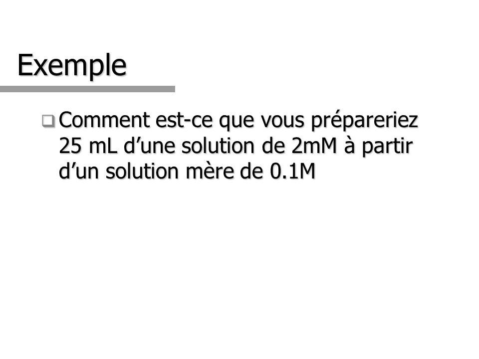 Exemple Comment est-ce que vous prépareriez 25 mL d'une solution de 2mM à partir d'un solution mère de 0.1M.