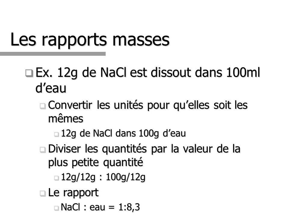 Les rapports masses Ex. 12g de NaCl est dissout dans 100ml d'eau