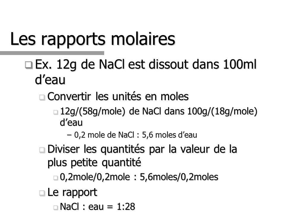 Les rapports molaires Ex. 12g de NaCl est dissout dans 100ml d'eau