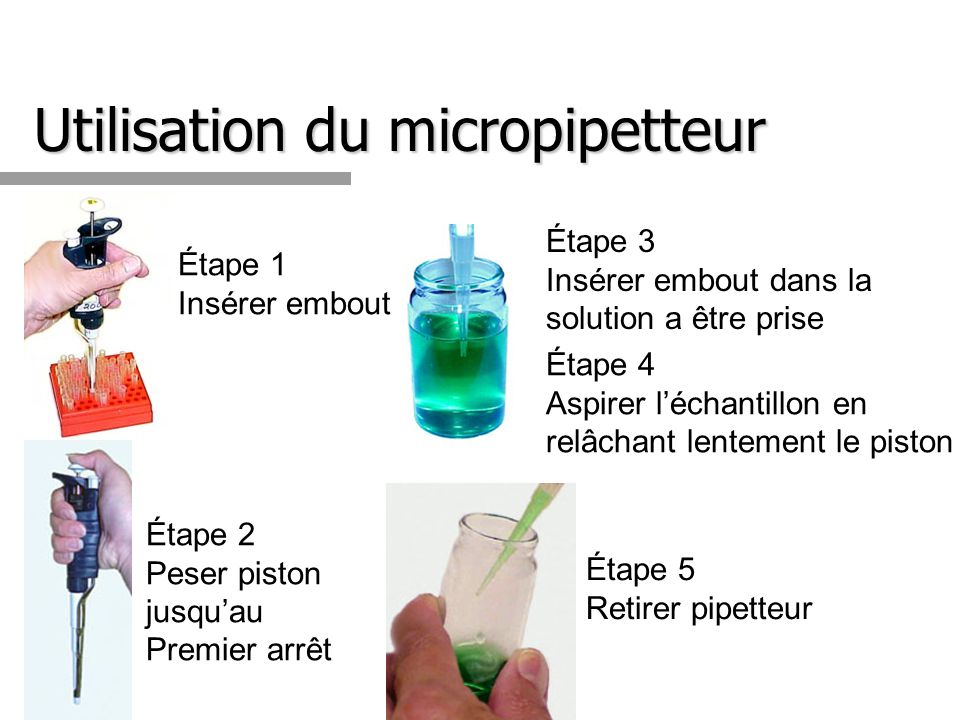 Utilisation du micropipetteur