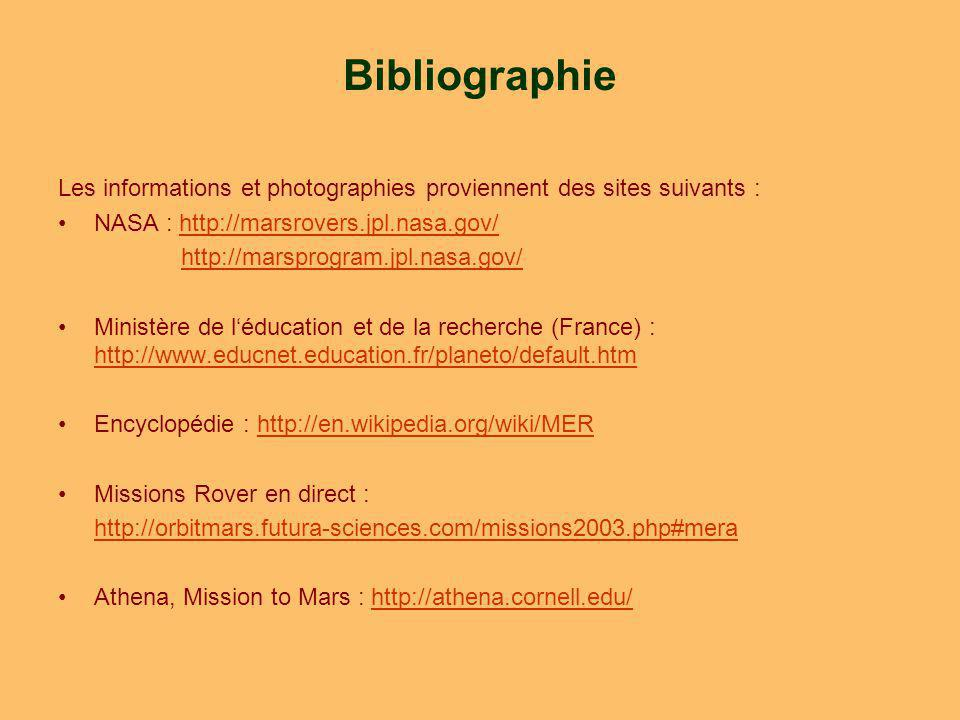 Bibliographie Les informations et photographies proviennent des sites suivants : NASA : http://marsrovers.jpl.nasa.gov/