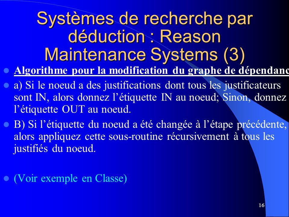 Systèmes de recherche par déduction : Reason Maintenance Systems (3)