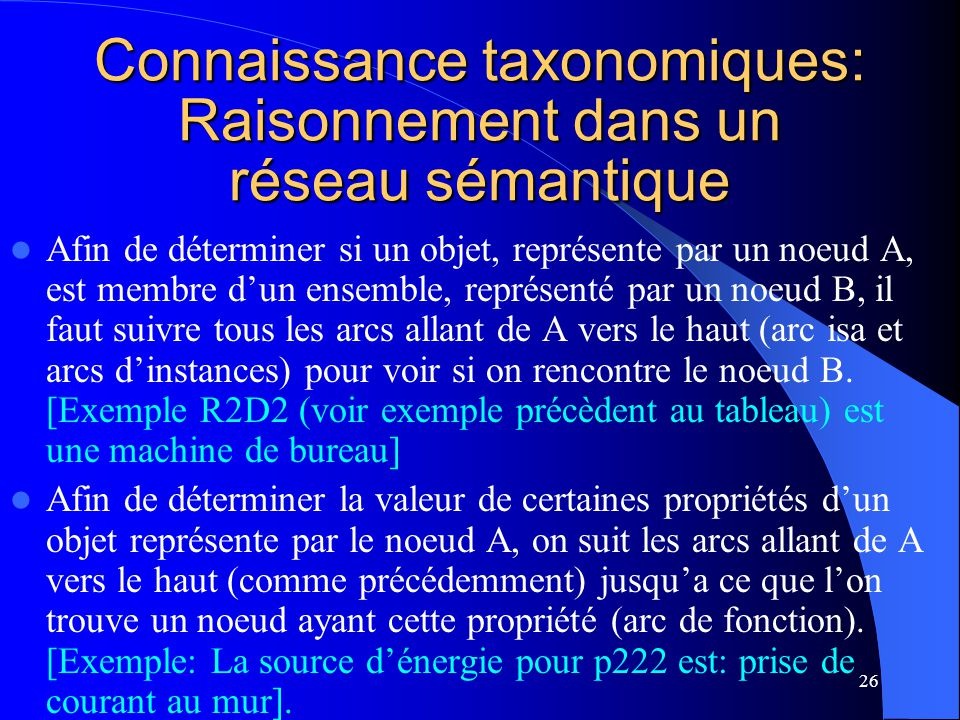 Connaissance taxonomiques: Raisonnement dans un réseau sémantique