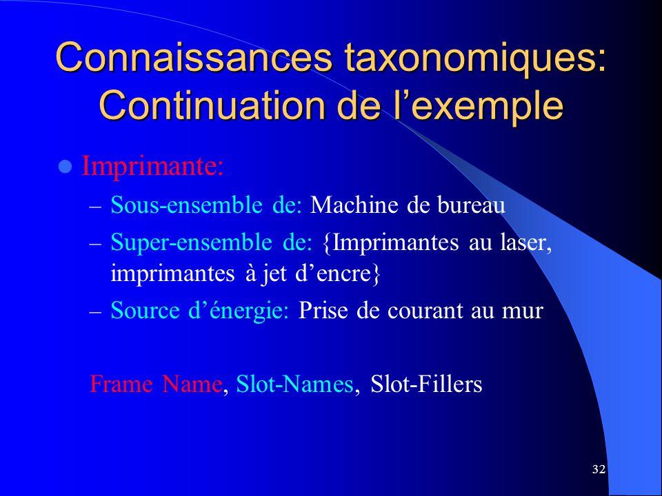 Connaissances taxonomiques: Continuation de l'exemple