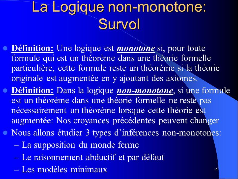 La Logique non-monotone: Survol