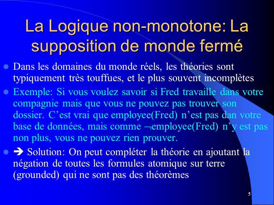 La Logique non-monotone: La supposition de monde fermé