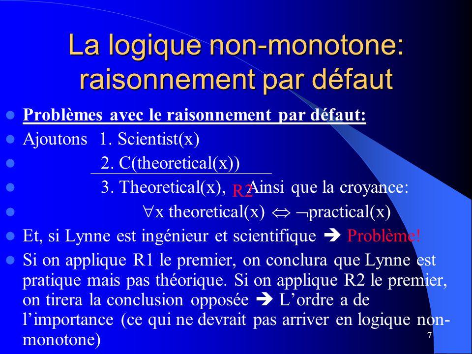 La logique non-monotone: raisonnement par défaut