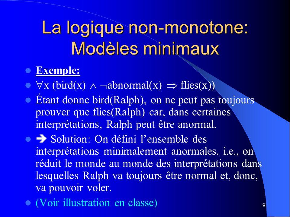 La logique non-monotone: Modèles minimaux