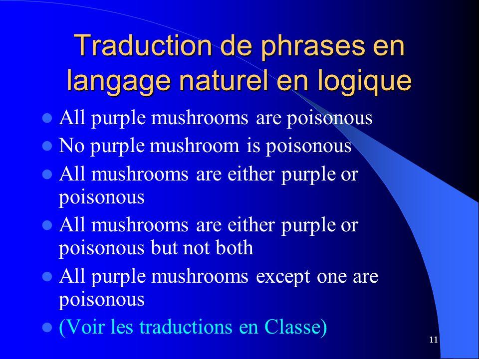 Traduction de phrases en langage naturel en logique