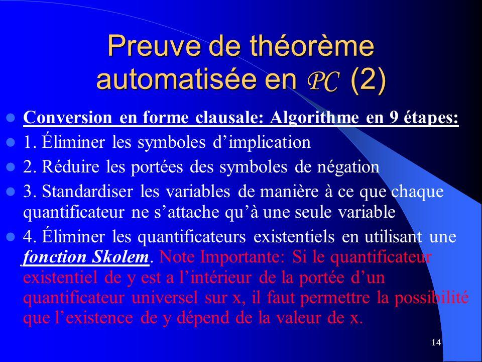 Preuve de théorème automatisée en PC (2)