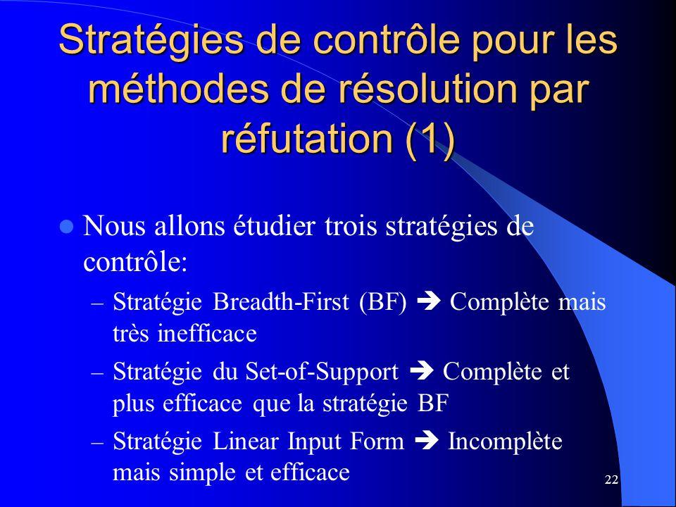 Stratégies de contrôle pour les méthodes de résolution par réfutation (1)