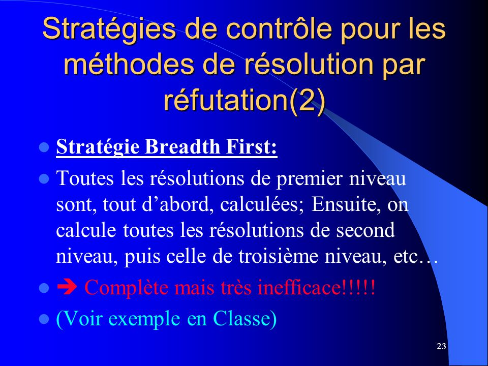 Stratégies de contrôle pour les méthodes de résolution par réfutation(2)