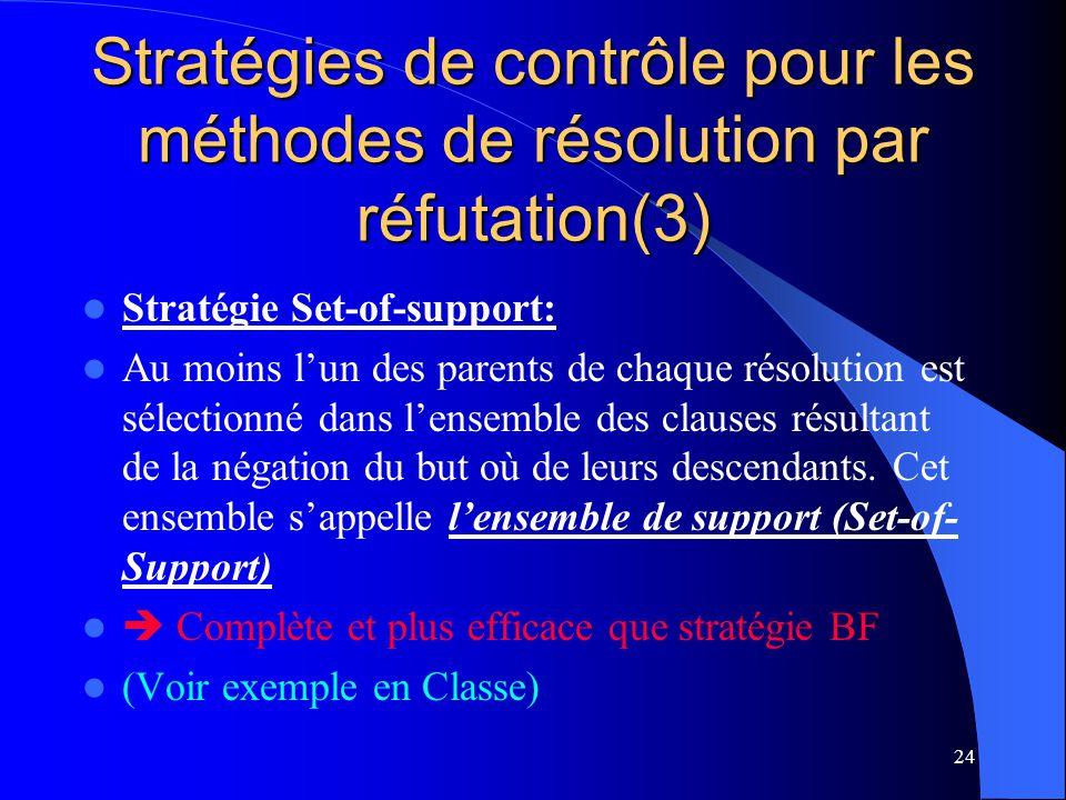 Stratégies de contrôle pour les méthodes de résolution par réfutation(3)