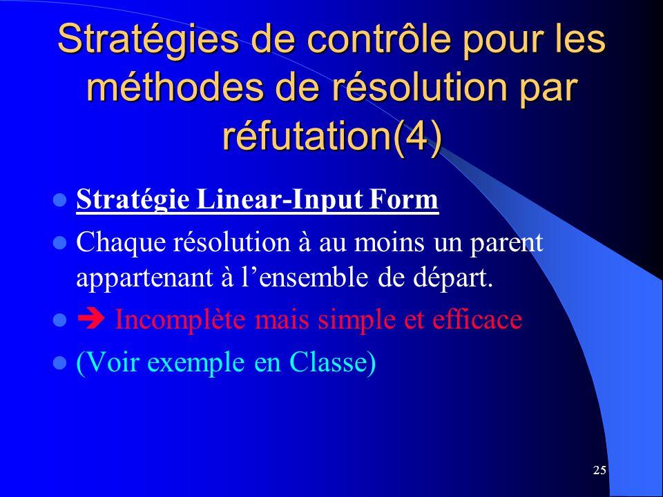 Stratégies de contrôle pour les méthodes de résolution par réfutation(4)