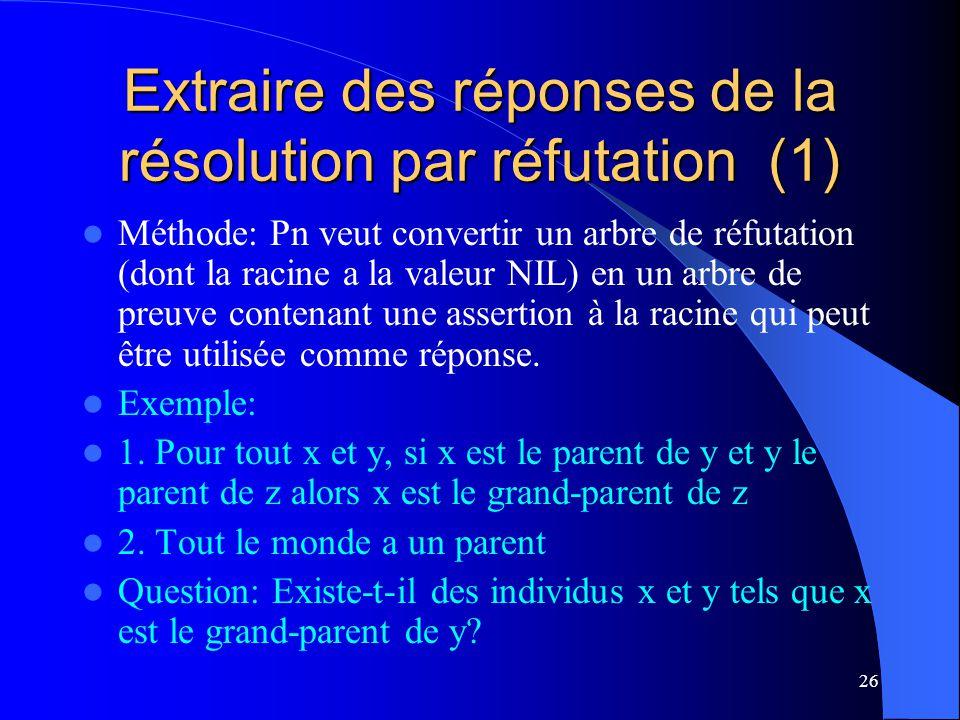 Extraire des réponses de la résolution par réfutation (1)