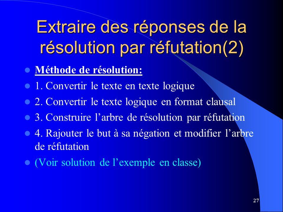 Extraire des réponses de la résolution par réfutation(2)