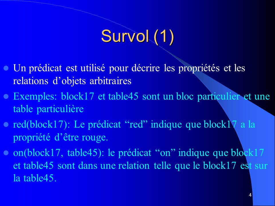 Survol (1) Un prédicat est utilisé pour décrire les propriétés et les relations d'objets arbitraires.