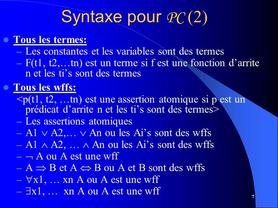Syntaxe pour PC (2) Tous les termes: