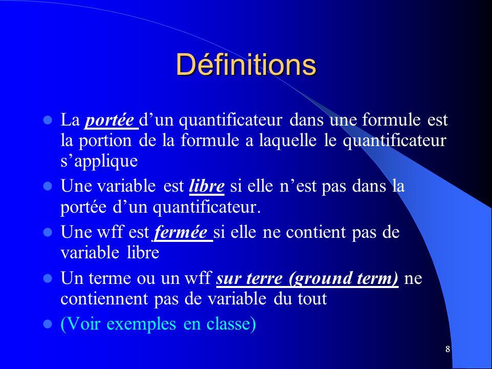 Définitions La portée d'un quantificateur dans une formule est la portion de la formule a laquelle le quantificateur s'applique.