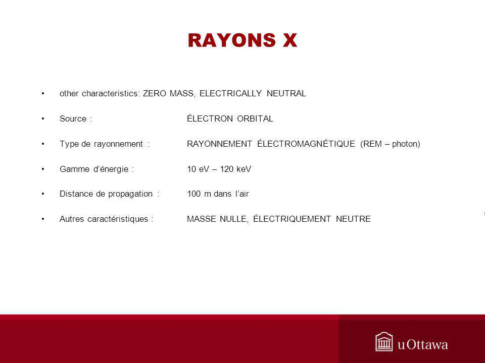 RAYONS X other characteristics: ZERO MASS, ELECTRICALLY NEUTRAL
