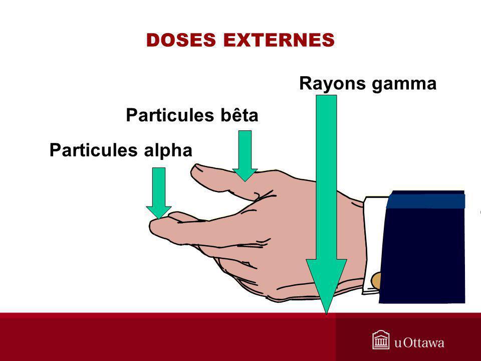 DOSES EXTERNES Rayons gamma Particules bêta Particules alpha