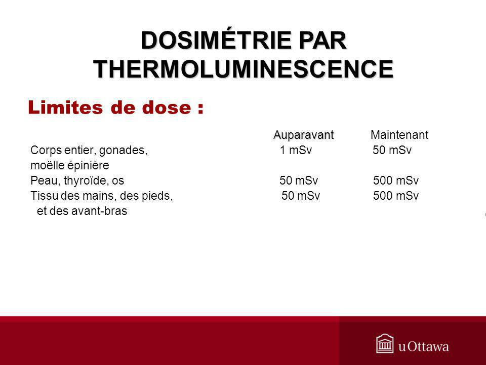 DOSIMÉTRIE PAR THERMOLUMINESCENCE