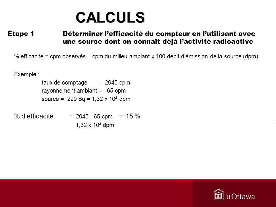 CALCULS Étape 1 Déterminer l'efficacité du compteur en l'utilisant avec une source dont on connaît déjà l'activité radioactive.
