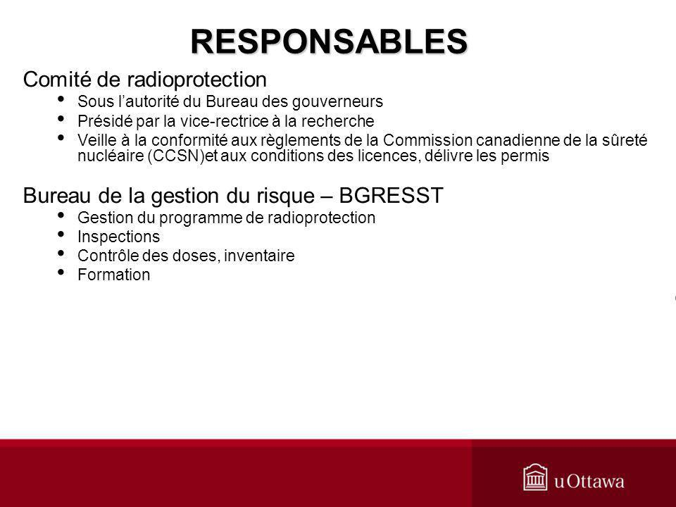 RESPONSABLES Comité de radioprotection