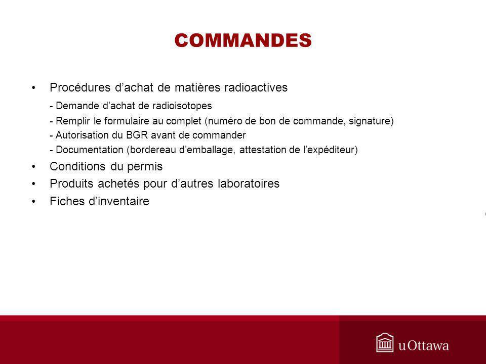 COMMANDES Procédures d'achat de matières radioactives