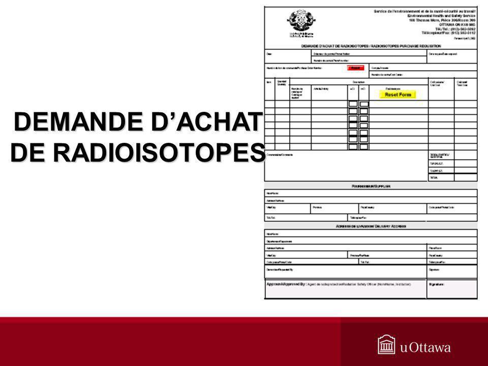 DEMANDE D'ACHAT DE RADIOISOTOPES