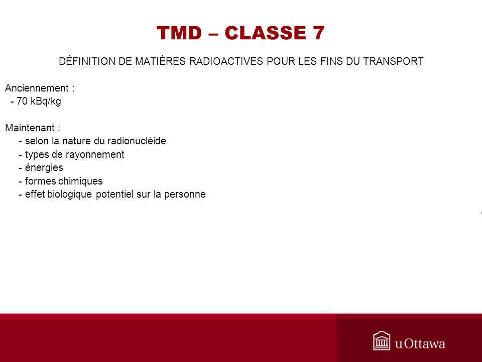 DÉFINITION DE MATIÈRES RADIOACTIVES POUR LES FINS DU TRANSPORT