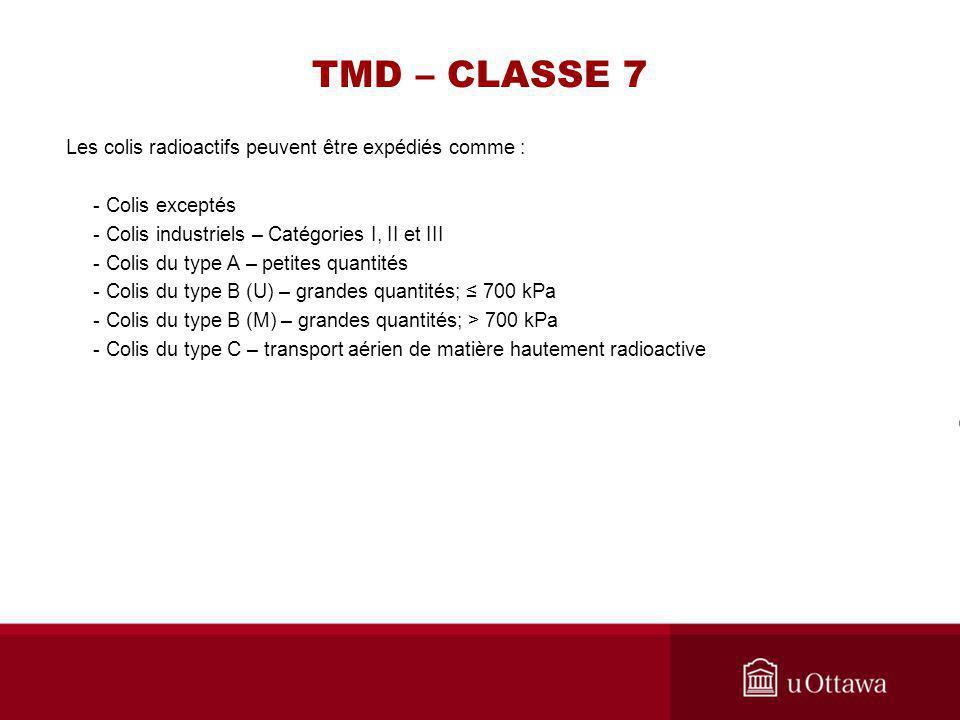 TMD – CLASSE 7 Les colis radioactifs peuvent être expédiés comme :