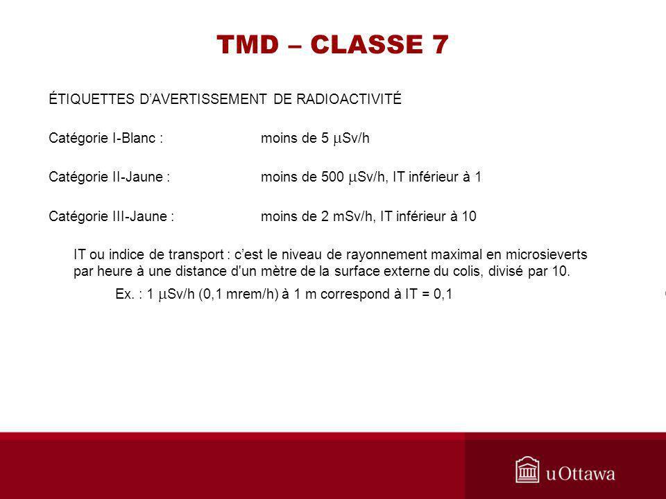 TMD – CLASSE 7 ÉTIQUETTES D'AVERTISSEMENT DE RADIOACTIVITÉ