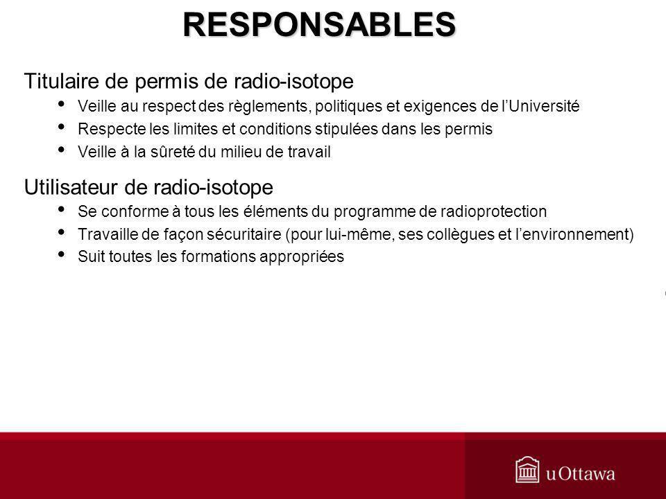 RESPONSABLES Titulaire de permis de radio-isotope