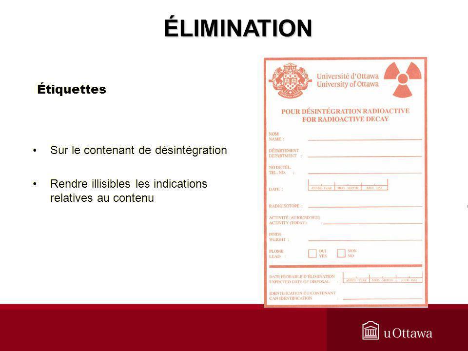 ÉLIMINATION Étiquettes Sur le contenant de désintégration
