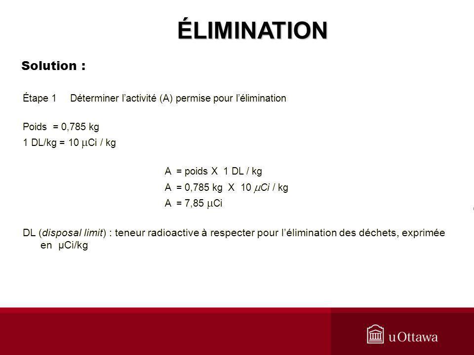 ÉLIMINATION Solution :
