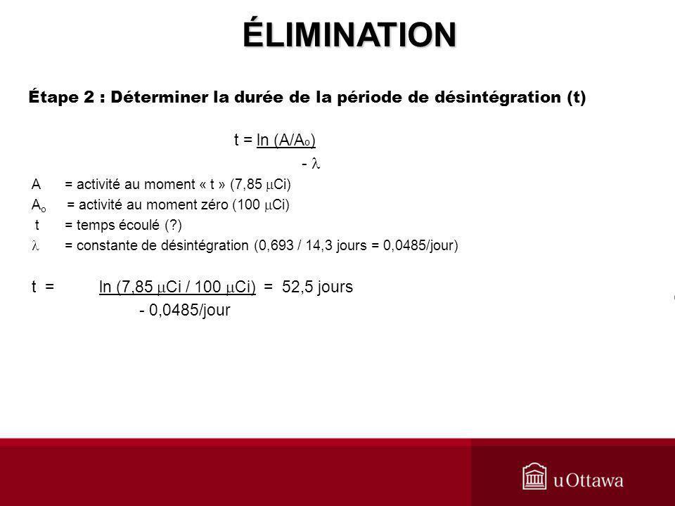 Étape 2 : Déterminer la durée de la période de désintégration (t)