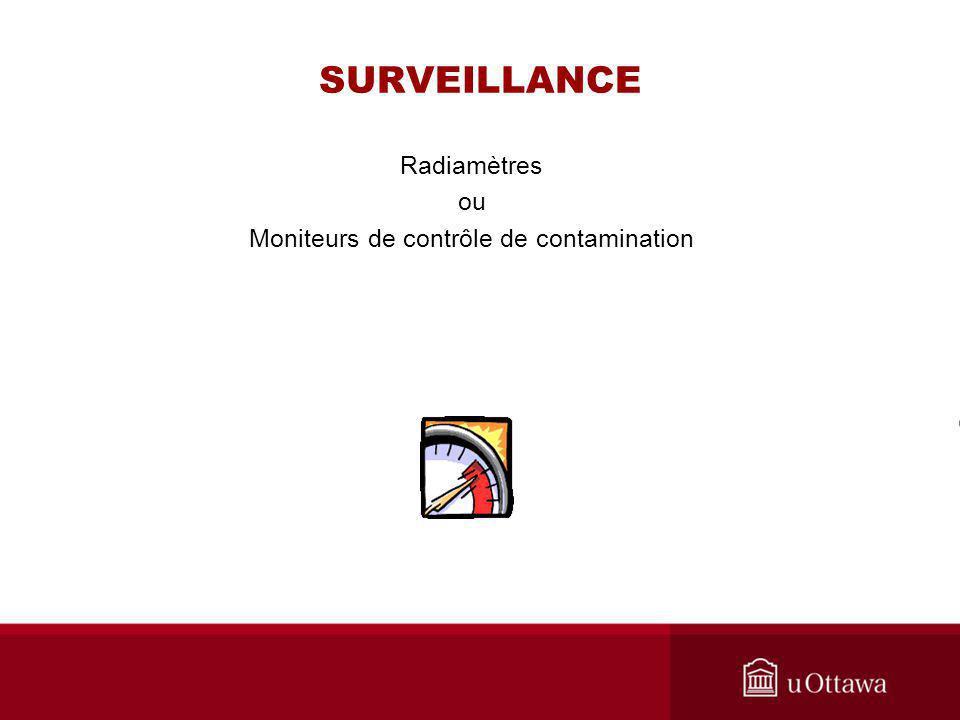 Radiamètres ou Moniteurs de contrôle de contamination