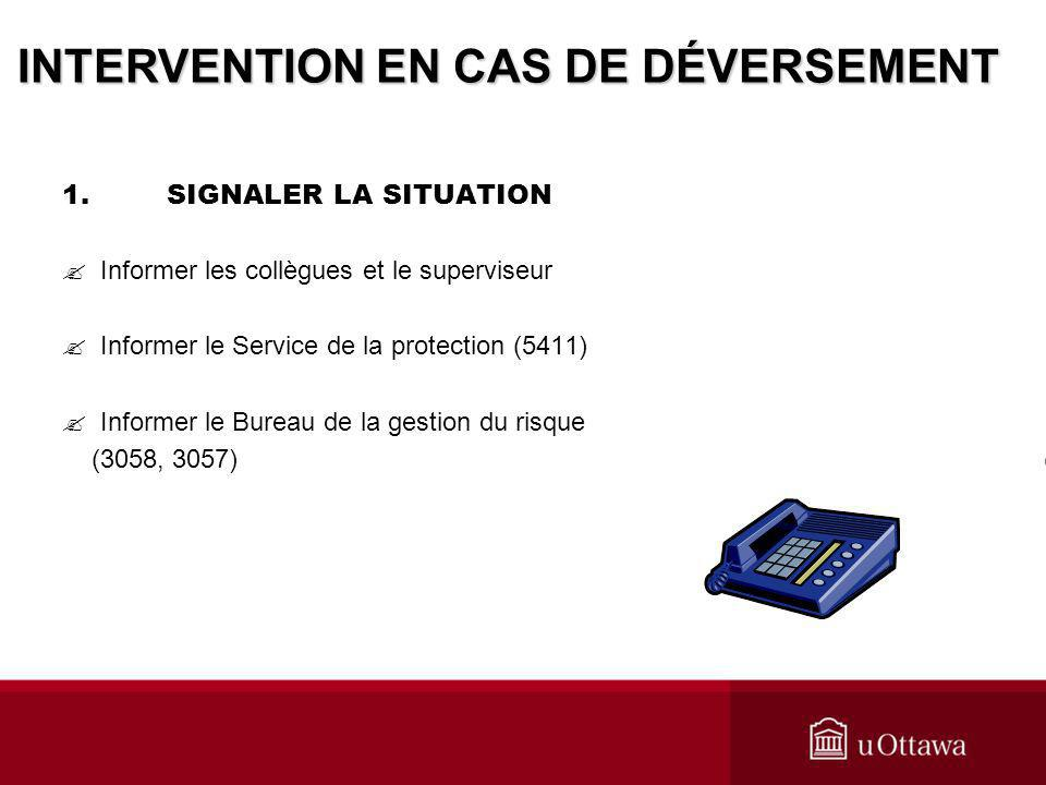 INTERVENTION EN CAS DE DÉVERSEMENT
