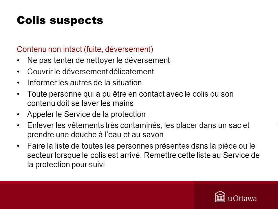 Colis suspects Contenu non intact (fuite, déversement)