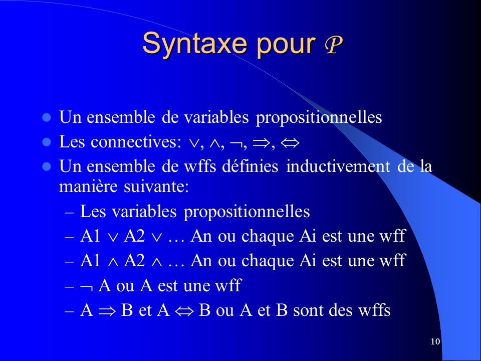 Syntaxe pour P Un ensemble de variables propositionnelles