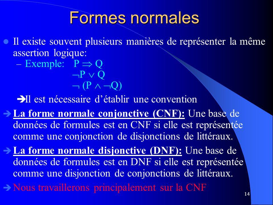 Formes normales Il existe souvent plusieurs manières de représenter la même assertion logique: Exemple: P  Q.