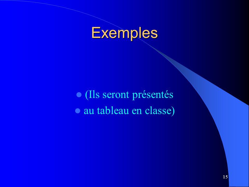 Exemples (Ils seront présentés au tableau en classe)