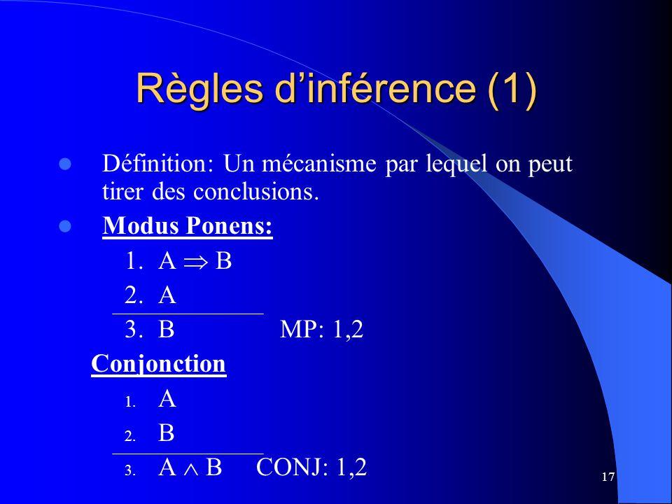 Règles d'inférence (1) Définition: Un mécanisme par lequel on peut tirer des conclusions. Modus Ponens: