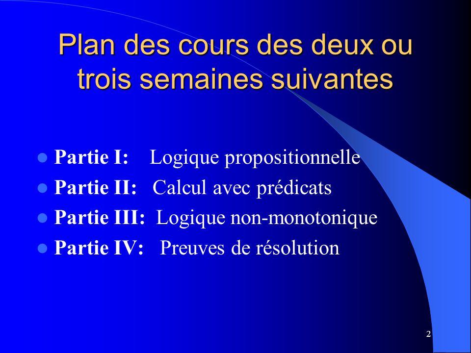 Plan des cours des deux ou trois semaines suivantes